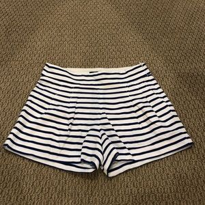 J. Crew Blue and White Striped Pleated Short Sz 00